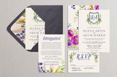 Wedding Invitation Set Printable Monogram Wedding by plpapers