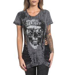 """DETAILS • Affliction Reversible Tee  • Laser Cut Detail  • Black Belt Print  • Charcoal / Black Lava Tint Wash  CONTENT AND CARE  • 100% Cotton  • Machine Wash Cold  • Made in USA  MODEL   • Height = 5'5""""  • Bust = 32""""  • Waist = 24""""  • Hips = 33""""  • Wearing size small"""