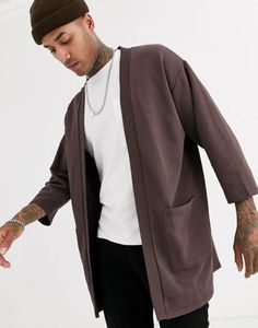 Buy ASOS DESIGN jersey kimono cardigan in dark brown at ASOS. With free delivery and return options (Ts&Cs apply), online shopping has never been so easy. Get the latest trends with ASOS now. Asos, Kimono Cardigan, Dark Brown, Latest Trends, Suit Jacket, Blazer, Design, Outfits, Shopping