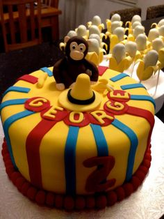 Curious George Cake is all right but really like the banana cake pops in the back Curious George Cakes, Curious George Party, Curious George Birthday, Gorgeous Cakes, Amazing Cakes, 2 Birthday Cake, Birthday Ideas, Lincoln Birthday, Kids Party Themes