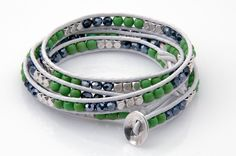 MyTeamWraps designed this beautiful wrap bracelet for the chic Seattle Seahawks fan. Our wraps are designed with extra button loops to accommodate a wider range of wrist sizes. Once you determine the