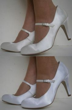 details about ivory white satin dolly mary jane stiletto court wedding bridesmaids l2994