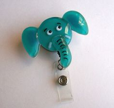 Fused Glass Elephant Badge Holder Turquoise by CDChilds on Etsy