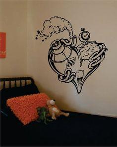 Steampunk Heart Machine Love Design Decal Sticker Wall Vinyl Decor Art