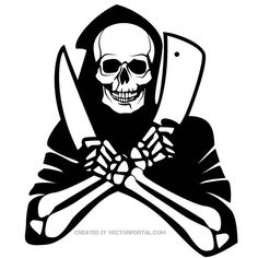 Death skeleton vector drawing.