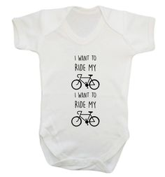 New to FloxCreative on Etsy: I want to ride my bicycle I want to ride my bike baby vest grow funny slogan quote lyrics cyclist 70's 80's rock pop glam white 55 (7.95 GBP)