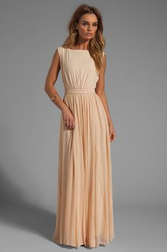 Alice + Olivia Triss Sleeveless Maxi Dress with Leather Trim in Almond Cream Formal Dress