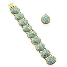 A Victorian turquoise bracelet and pendant, Indian