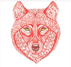 Intricate wolf drawing