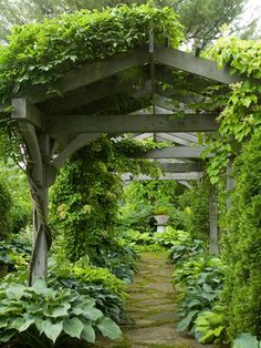 Pergola with Hostas  // Great Gardens & Ideas //