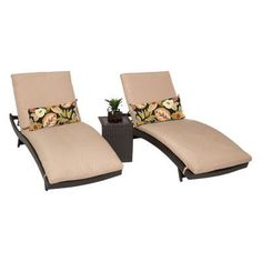 TK Classics Bali Adjustable Outdoor Chaise Lounge with Side Table - Set of 2 Chairs and Cushion Covers Wheat - BALI-2X-ST-WHEAT