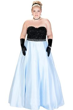 0d3fe3418bb Sydney s Closet Plus Size Prom Catch the colorblock trend when you wear this  fairy-tale Prom dress with black beaded lace bodice and contrasting pastel  ...