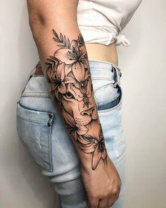 Half Sleeve Tattoos Forearm, Unique Half Sleeve Tattoos, Feminine Tattoo Sleeves, Quarter Sleeve Tattoos, Forarm Tattoos, Feminine Tattoos, Dope Tattoos, Tattoo Sleeves Women, Forearm Flower Tattoo