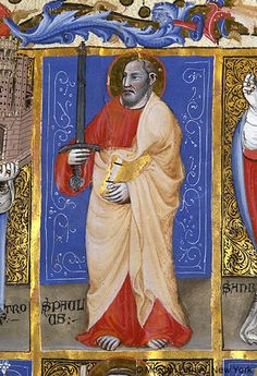 Apostle Paul | Register of creditors of a Bolognese lending society | Italy, Bologna | 1390-1400 | The Morgan Library & Museum