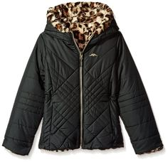 Pacific Trail Girls' Quilted Jacket Reversible to Jungle Cat Faux Fur - best woman's fashion products designed to provide Jungle Cat, Piel Natural, Girls Quilts, Quilted Jacket, Faux Fur, Winter Fashion, Jackets For Women, Winter Jackets, Street Style