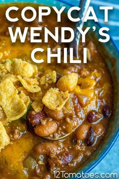 The flavor is spot on and this makes a *big* batch! Copycat Wendy's Chili, Copycat Recipes, 12 Tomatoes Recipes, Wendys Chili, Slow Cooker Recipes, Cooking Recipes, Skillet Dinners, Canned Tomato Sauce, How To Can Tomatoes