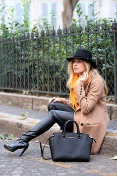 jennyontheblogmode Un style aux couleurs de l'automne: Manteau, boots, écharpe et chapeau, tout y est!
