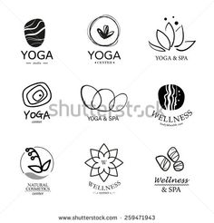 Set of vector logo elements. Wellness, yoga, spa, health and cosmetics emblem collection.   - stock vector