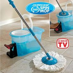 Hurricane® Spin Mop: Hurricane® Spin Mop cleans, dries and polishes all at once! The super-absorbent head soaks up to 10X its weight in dirty, grimy water, trapping it inside, and doesn't drip! Just give the mop a dunk in the bucket and give a push to the foot pedal. The centrifugal force spins the mop head dry, so it's not dripping when it hits the floor. Machine washable microfiber mop head swivels a full 360º making it a breeze to get into corners.