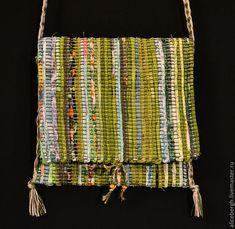 Купить Сумка ручного ткачества(№1) - зеленый, сумка, сумочка, тканая, тканье, хлопок, лен, лён