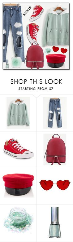 """""""Red and Green"""" by beautiful-723 ❤ liked on Polyvore featuring Converse, Lunautics, Revlon, Giorgio Armani, red, denim, GREEN and New"""