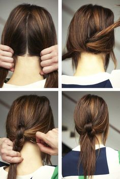 Divida o cabelo em duas partes, dê alguns nós, prenda com grampinhos, arrase.   22 penteados simples para quando você não sabe o que fazer com seu cabelo