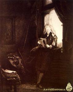 Jan Six leyendo a contraluz - A finales del siglo XVII, las colecciones de los burgueses flamnecos podían competir con las del patriciado veneciano. Ej; la de JAN SIN, uno de los mejores clientes de Rembrandt. O en DELF la colección de PIETER CLAESZ VAN RUIJVEN, ppal. protector de VERMEER.