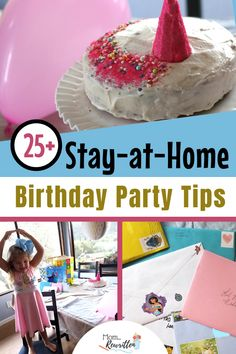 Throw your own happy birthday party at home with these 25  practical tips including a free Birthday Kid printable game. Detailed instructions on making a colorful unicorn cake at home using ingredients you probably have in your pantry. Ideas on how to include family and friends in the at-home birthday celebration! #StayHome #BirthdayParty #Birthdays #HomeParties #Birthday #BudgetBirthday #BudgetParty #BirthdayParties #PartiesforKids #KidParty