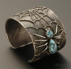Cuff | Preston Monogye.  Sterling silver with spiderweb turquoise.  ca. 1970
