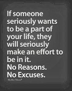 NO REASONS, NO EXCUSES, EVER!