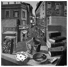 M.C. Escher - Still Life and Street, 1937  woodcut
