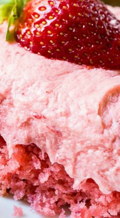 Strawberry Sheet Cake with fresh Strawberry Buttercream Frosting ~ So much strawberry flavor and it is a cinch to make with a box of white cake mix... The cake itself gets its strawberry flavor from fresh strawberry puree and a box of strawberry gelatin.