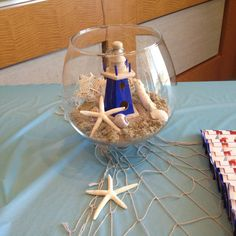 Baby shower centerpieces nautical vases new Ideas Shower Party, Baby Shower Parties, Baby Shower Themes, Baby Boy Shower, Shower Ideas, Sailor Baby Showers, Anchor Baby Showers, Baby Shower Marinero, Nautical Centerpiece
