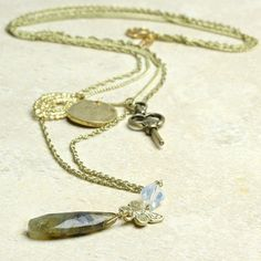 long key and butterfly layered necklace by lisa angel | notonthehighstreet.com