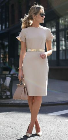 beige nude short sleeve sheath dress with flutter sleeves // hammered gold nude accent waist belt // suede nude pointed toe pumps // classic work wear, office style, professional women // kate spade, (Fitness Clothes Outfits) Fashion Mode, Work Fashion, Womens Fashion, Trendy Fashion, Fall Fashion, Fashion Stores, Street Fashion, Feminine Fashion, Fashion 2018