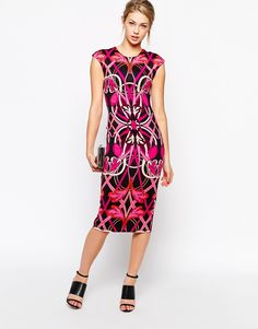 Image 4 ofTed Baker Bodycon Pencil Dress in Linear Jewel Print