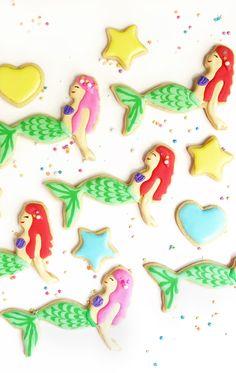 The Little Mermaid Ariel Cookies - Disney royal icing sugar cookie decorating tutorial
