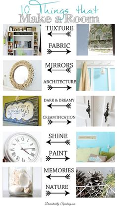 10 Things that Make a Room: Texture, Fabric, Mirrors, Architexture, Paint, Shine, Memories, Nature