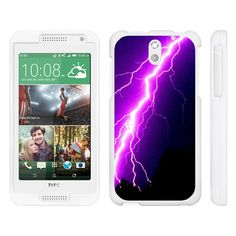 HTC Desire 610 Case SNAP SHELL White 3 IN 1- Slim Hard Fitted Case - Purple Lightning Bolt