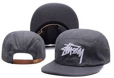 Men's Stussy Stock 3D Iconic Logo Embroidery 5 Panel Flannel Strapback Hat - Dark Gray / White