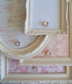 NEW DESIGN - - Shabby Chic Vintage Shades of Pink and White Ornate Collection… - Magnet Boards with frames- use cookie sheets and cut down with tin snips to fit secondhand frames Upcycle recycle DIY Cute Crafts, Crafts To Do, Diy Crafts, Frame Crafts, Geek Crafts, Diy Projects To Try, Craft Projects, Craft Ideas, Crafty Craft