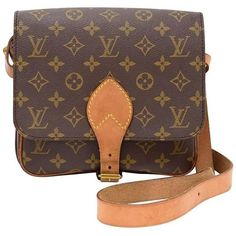 Preowned Vintage Louis Vuitton Cartouchiere Pm Monogram Canvas... ($440) ❤ liked on Polyvore featuring bags, handbags, shoulder bags, brown, structured shoulder bags, louis vuitton handbags, monogrammed crossbody purse, cross-body handbag, brown crossbody and canvas crossbody