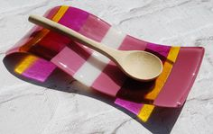 Pink and White Glass Spoon Rest.  A Handmade and by DBGlassDesigns