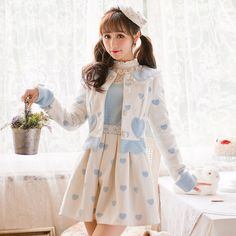 >> Click to Buy << Princess sweet lolita blue coat Candy rain Lovely pocket decoration design Each single breasted collar Japanese design C16CD6185 #Affiliate