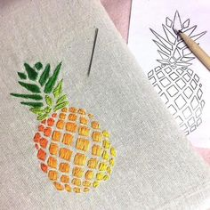 Premier modèle terminé 😃😍 Qu'en pensez-vous ? #broderie #ananas #embroidery #color #happy #first #diy #createur #madeinfrance #homemade #brazilianembroiderypatterns