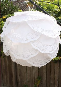 DIY Paper Doily Lanterns- I saw these directing a way to a wedding and thought they were adorable!!!!