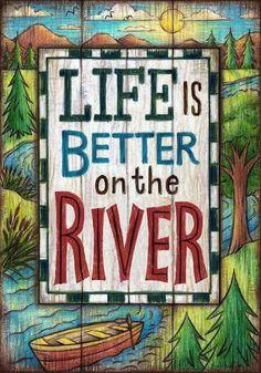 "Life is Better on the River Garden Flag 18"" x 12"" Riverside Yard Decor Dbl Sided #CustomDecor"