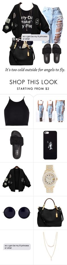 """Maybe X Bahja Rodriguez"" by tymeshac ❤ liked on Polyvore featuring River Island, Puma, October's Very Own, WithChic, Rolex, The Row, Michael Kors and Forever 21"