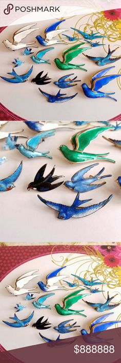 ISO- Looking for Birdies!   (NFS) (This listing is not for sale)  In search of Birds!  I love love love these vintage enamel bird brooches! This is my collection so far, and I'm always hunting for more! I like the antique and vintage ones, preferably bluebirds and swallows. If you have a bird like this listed,  please tag me! I may be interested :) -Chrissie Vintage Jewelry Brooches