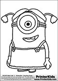 Coloring page with a Minion from Despicable Me and Despicable Me 2. Print and color this Despicable Me page drawn by Loke Hansen (http://www.LokeHansen.com) based on an image found online from one of the two movies.